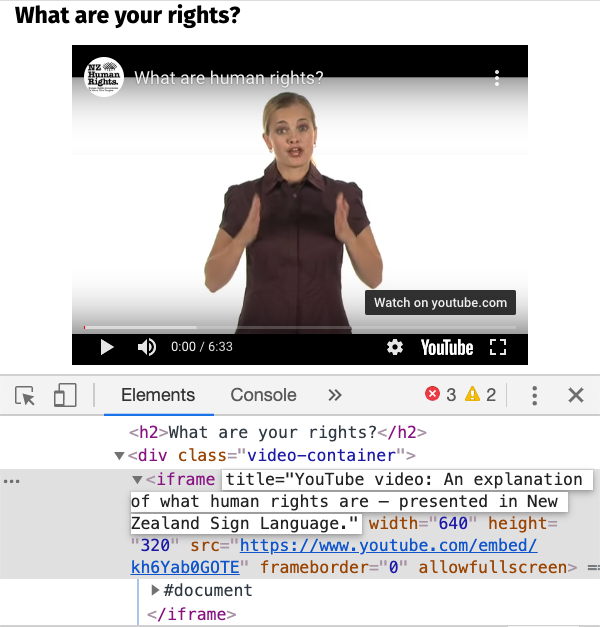 Screenshot of browser developer tools showing HTML markup for a video iframe with a good title attribute.